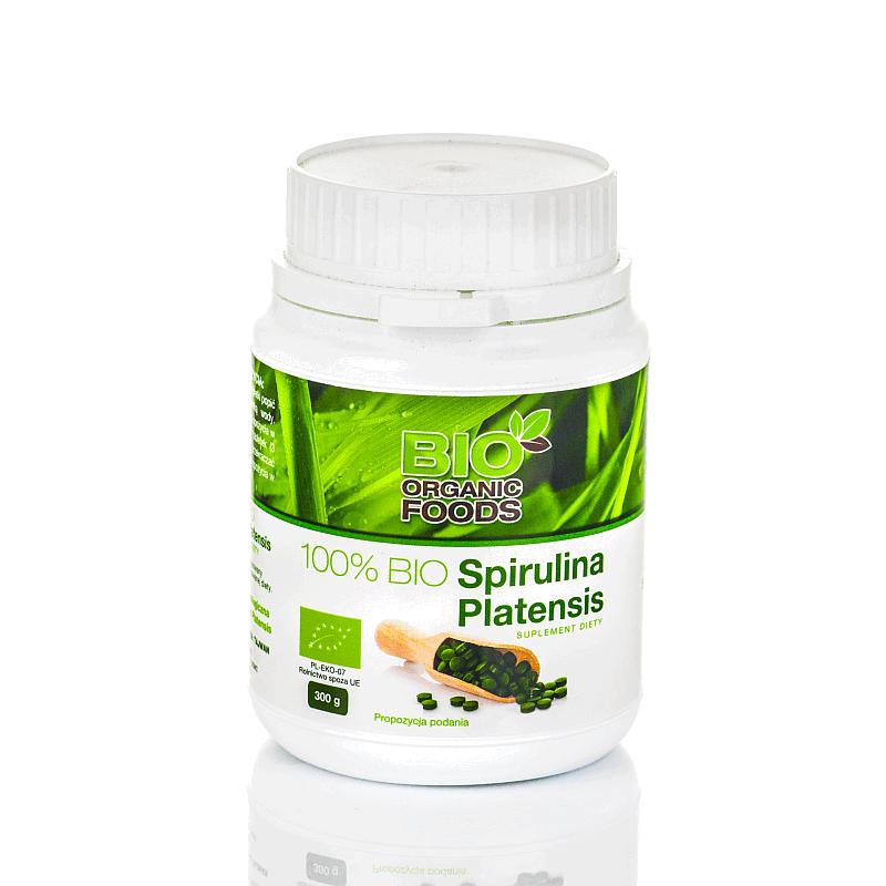 100% Bio Spirulina Platensis 300g (1200 tabletek po 250 mg) - Bio Organic Foods