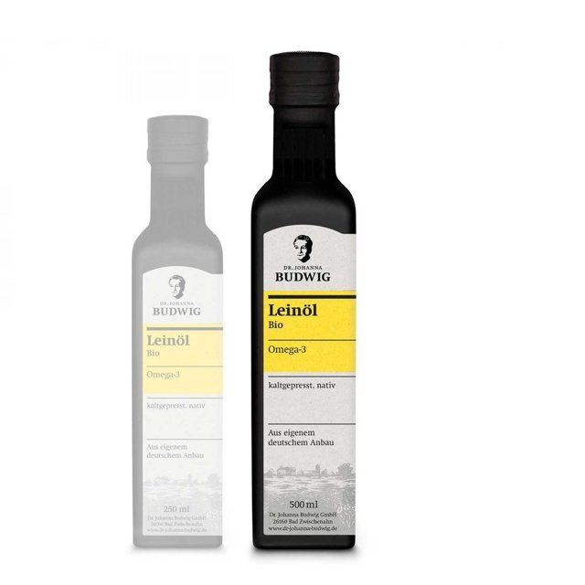 Dr Budwig Olej lniany - zimnotłoczony, niefiltrowany BIO 500ml - do diety dr Budwig