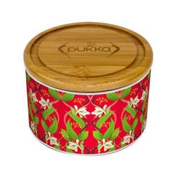 Wypełniony (!) herbatą PUKKA POJEMNIK Revitalise Ceramic Tea Caddy (CZERWONY) -  ceramiczna puszka na herbatę - prezent pod choinkę dla kobiety