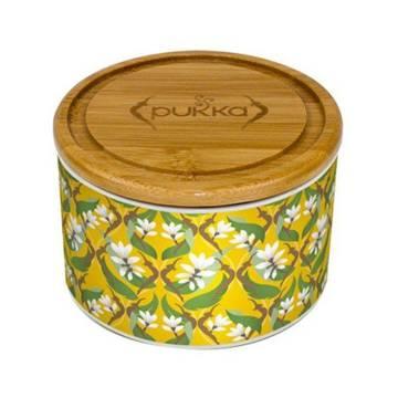 Wypełniony (!) herbatą PUKKA POJEMNIK Turmeric Gold Tea Caddy (ŻÓŁTY) - ceramiczna puszka na herbatę - super prezent pod choinkę dla mężczyzny